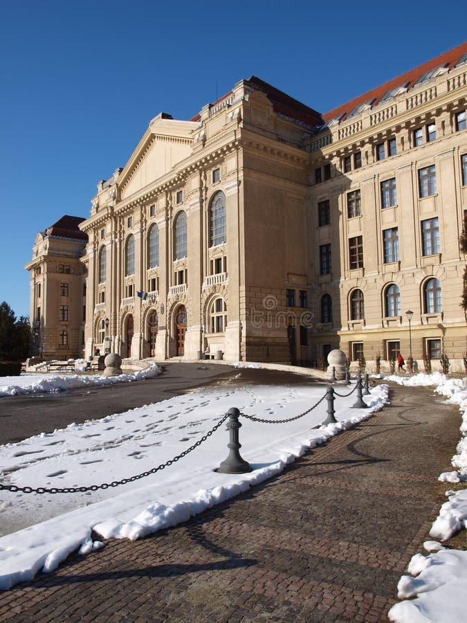 University of Debrecen in winter stock image