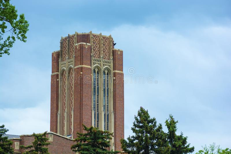 University of Denver campus in Denver, Colorado during the day stock photography
