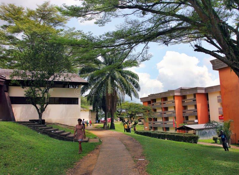 At the university of Douala, Cameroun stock image