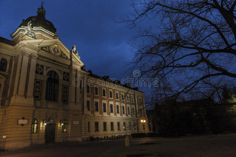 University of Economics by night. stock images