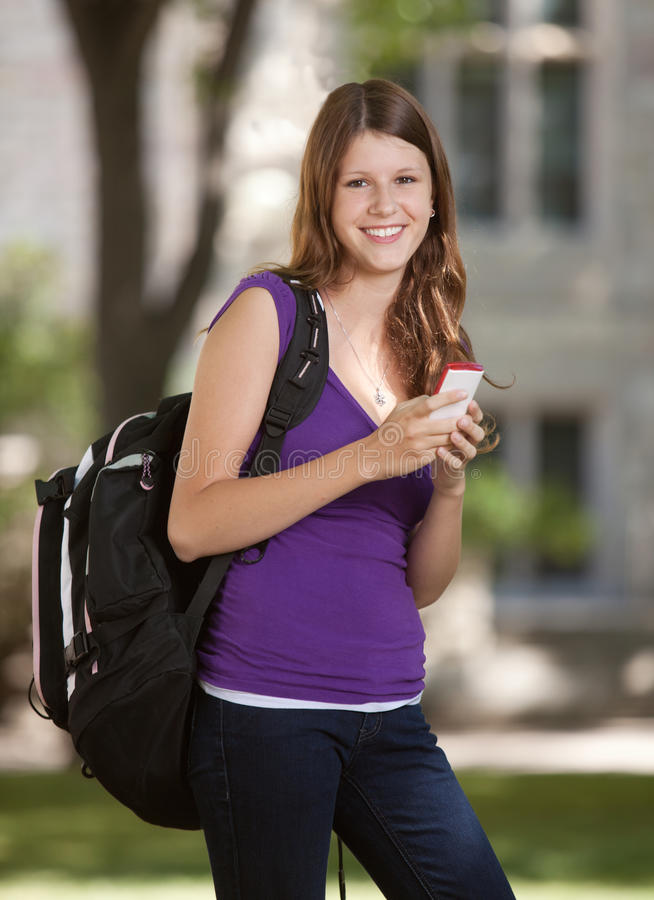 University Girl with Phone royalty free stock images