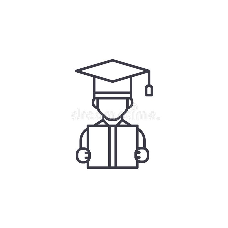 University graduate linear icon concept. University graduate line vector sign, symbol, illustration. royalty free illustration
