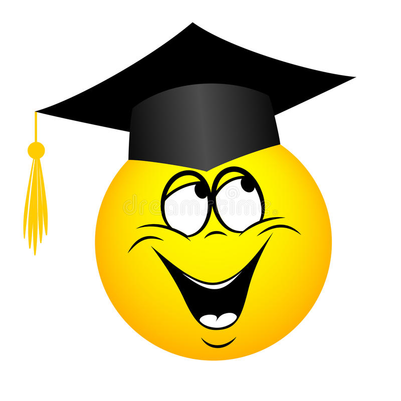 The university graduate in a square academic hat, emoticon. For web-design stock illustration