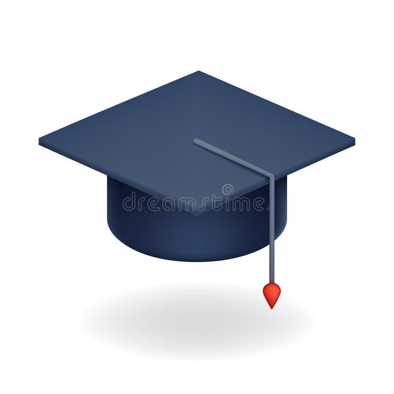 University Graduation Cap Icon Student Education Symbol Isolated Realistic 3d design vector illustration royalty free illustration