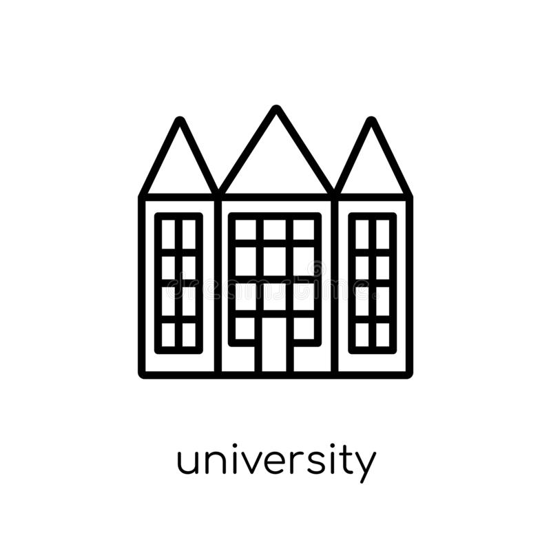 University icon. Trendy modern flat linear vector University icon on white background from thin line E-learning and education col vector illustration