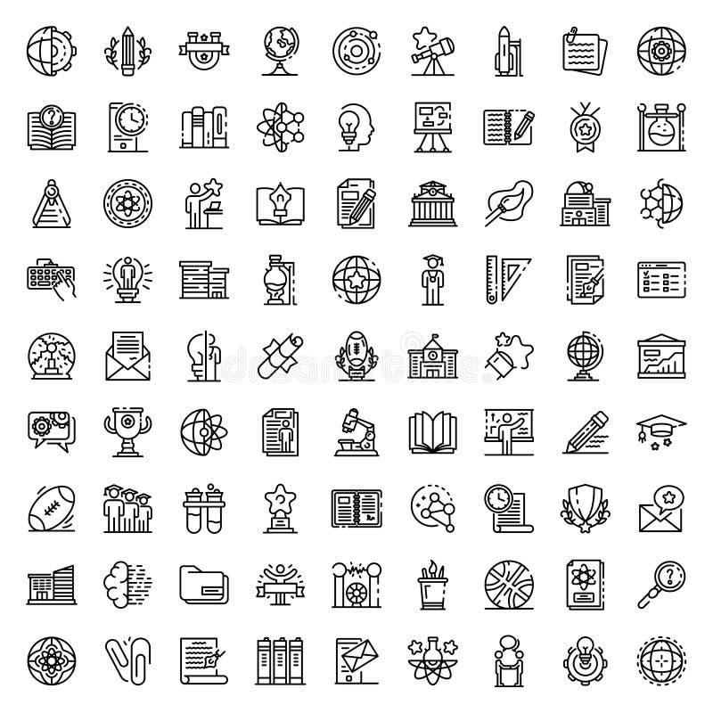 University icons set, outline style. University icons set. Outline set of university vector icons for web design isolated on white background stock illustration