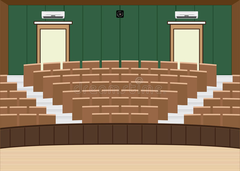 University lecture main hall with a Large Seating Capacity. Lecture room interior building flat design vector illustration stock illustration