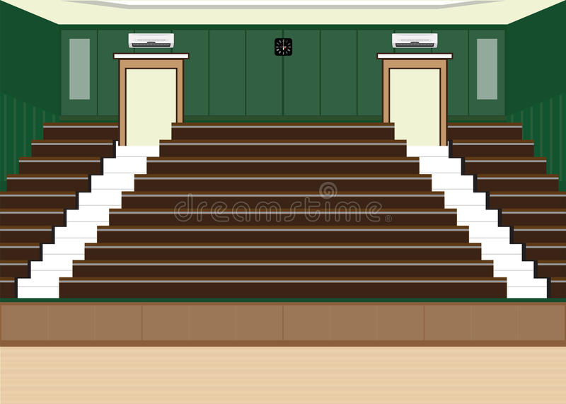 University lecture main hall with a Large Seating Capacity. University lecture main hall with a Large Seating Capacity, lecture room interior building flat royalty free illustration
