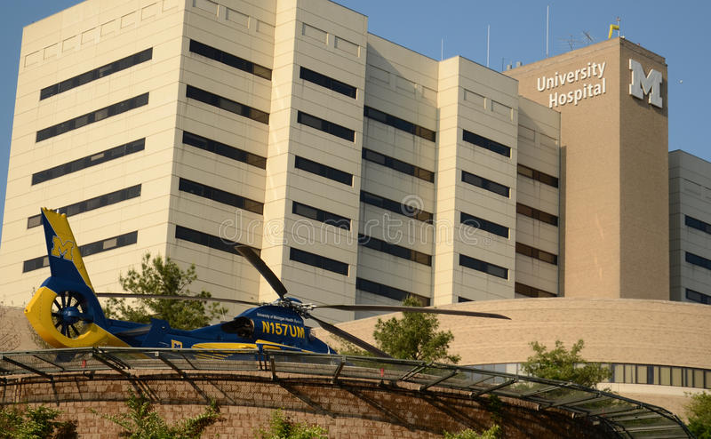 University of Michigan survival flight helicopter at hospital 2014 royalty free stock photo