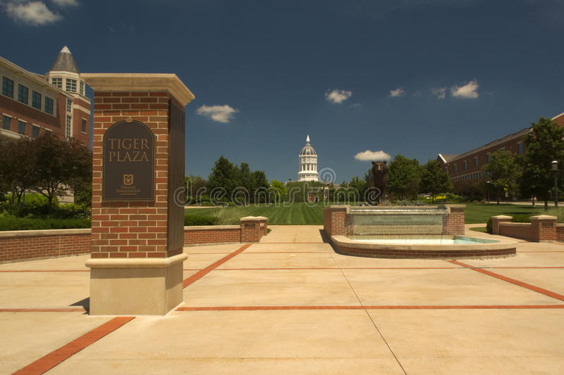 University of Missouri, Columbia, USA. Tiger Plaza with fountain and tiger statue, and Jesse Hall in the background, at the University of Missouri, Columbia. The stock photo