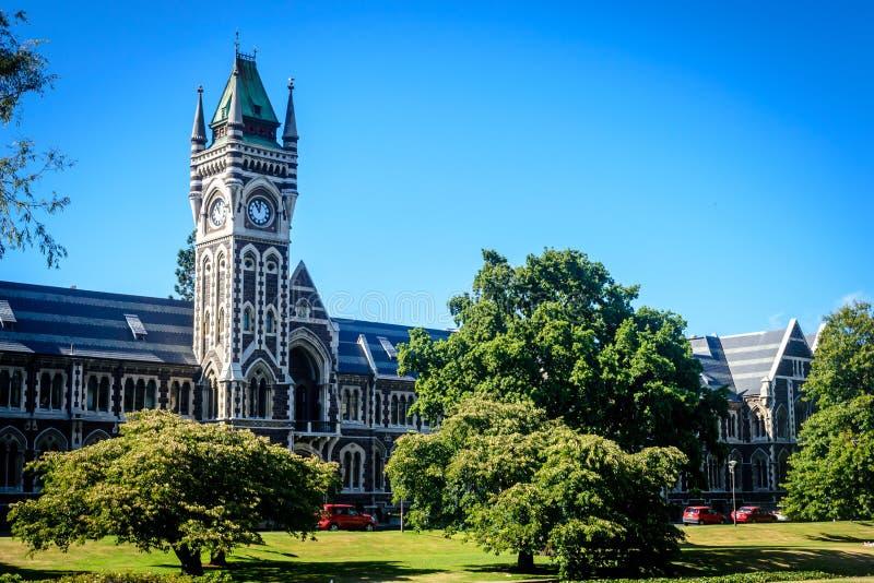 University of Otago, Dunedin, New Zealand. University of Otago - tower and garden, Dunedin, New Zealand stock photos