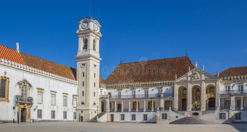 University square and bell tower in Coimbra. Portugal stock photography