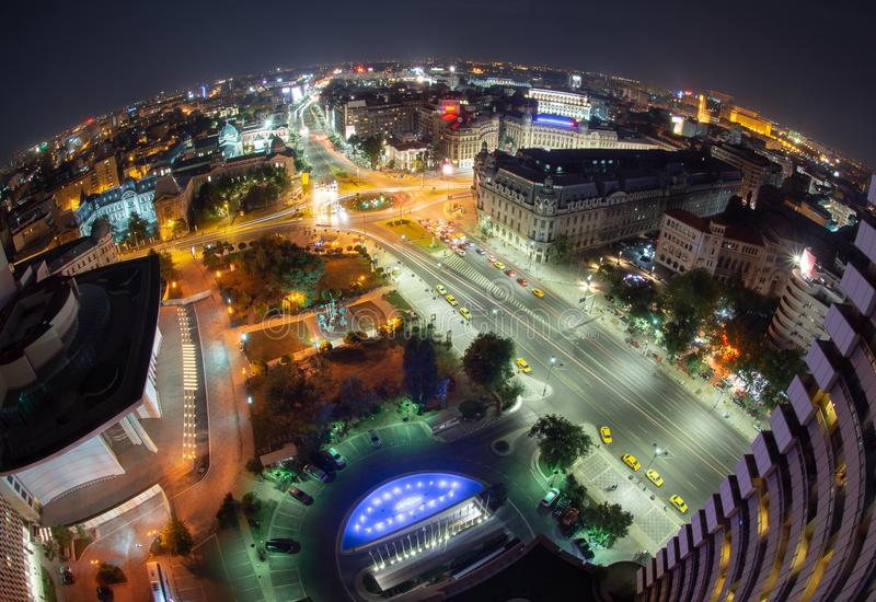 University Square, Bucharest, Romania view from Intercontinental hotel , night cityscape royalty free stock images