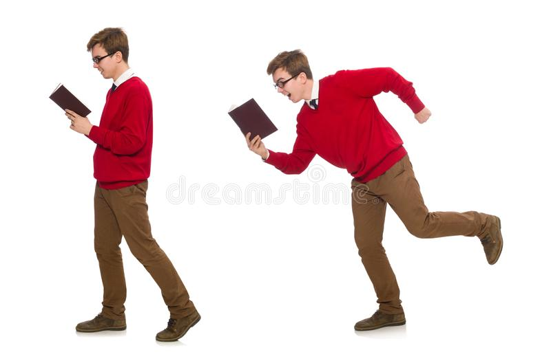 The university student with book isolated on white. University student with book isolated on white stock images