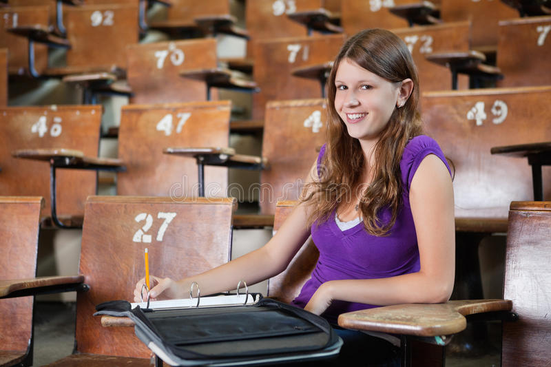 University Student in Lecture hall stock photography