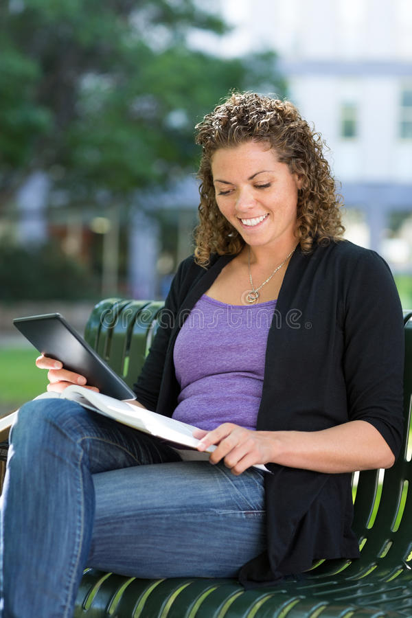 University Student Studying On Campus stock images