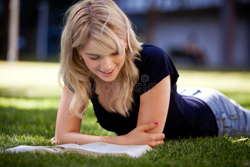 University Student Studying Outdoors royalty free stock photo