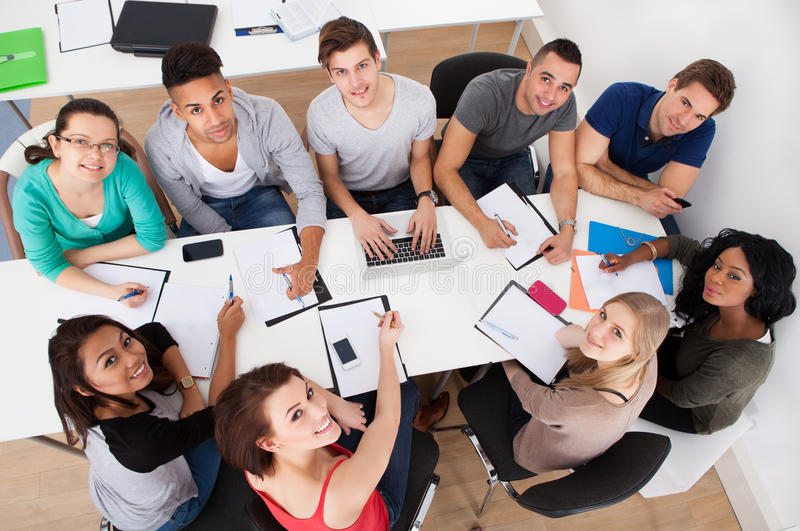University students doing group study royalty free stock photography