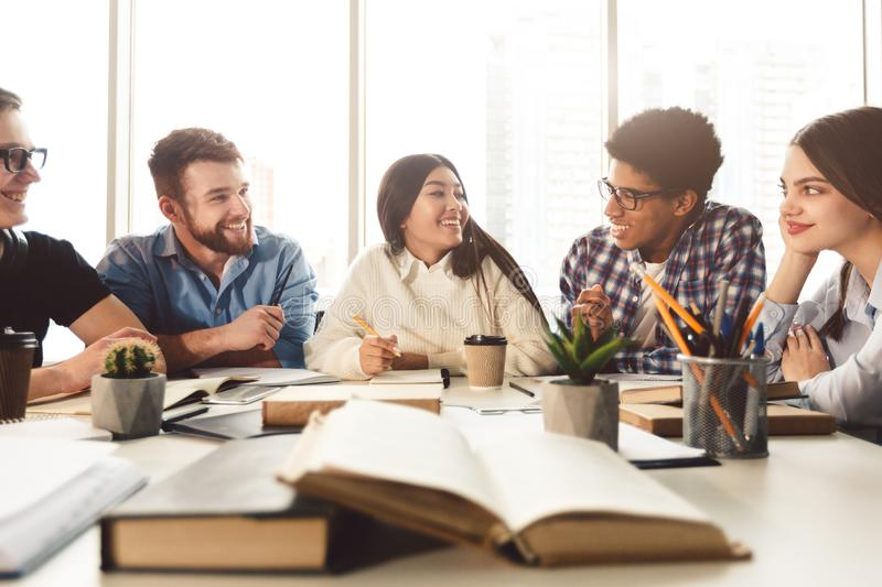 University students learning and preparing for exam royalty free stock photos