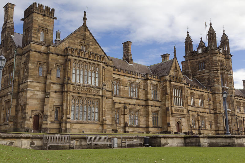 The University of Sydney, the Main Quadrangle. Gothic Revival style buildings of the University of Sydney Main Quadrangle stock photos