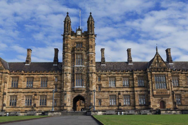 The University of Sydney, the Main Quadrangle. Front view on the main tower of University of Sydney Quadrangle. Gothic Revival style buildings stock image