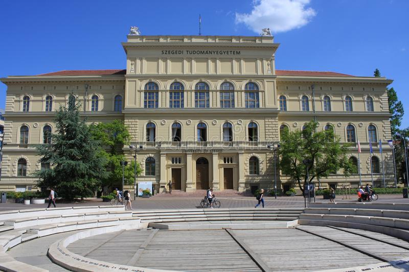 The University of Szeged, located on the Dugonich square stock photos