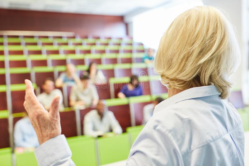 University training lessons with teacher. And college students stock image