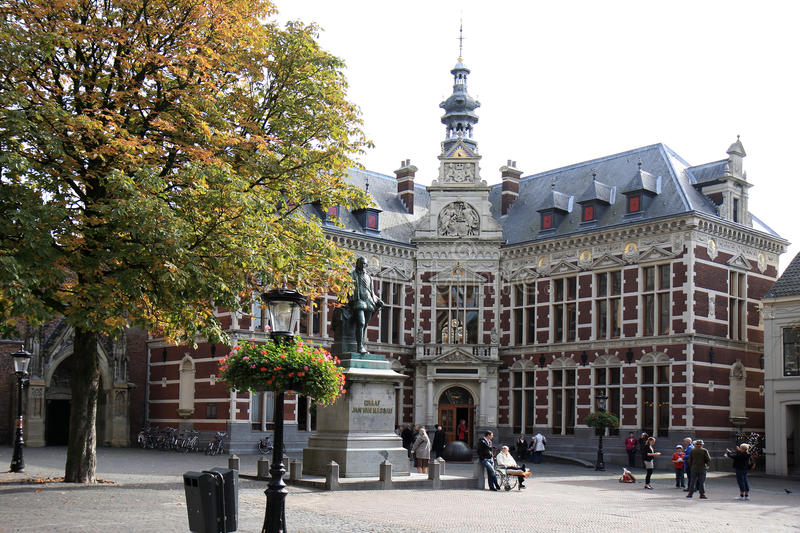 University of Utrecht, Domplein, the Netherlands. Utrecht University's headquarters in Holland are located in a beautiful building, dating from 1891, on stock photography