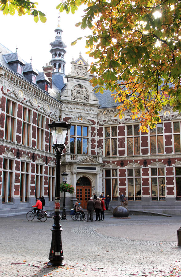 University of Utrecht in the Netherlands. Utrecht University's headquarters in Holland are located in a beautiful building, dating from 1891, on the royalty free stock photo