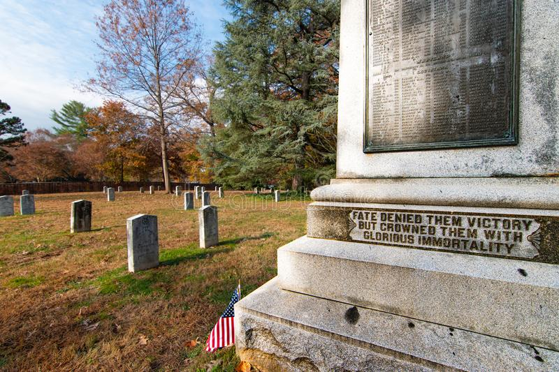 University of Virginia Confederate Cemetery. Liberal College Maintains Civil War Graveyard and Statue, charlottesville, uva, united, states, university, virginia royalty free stock images