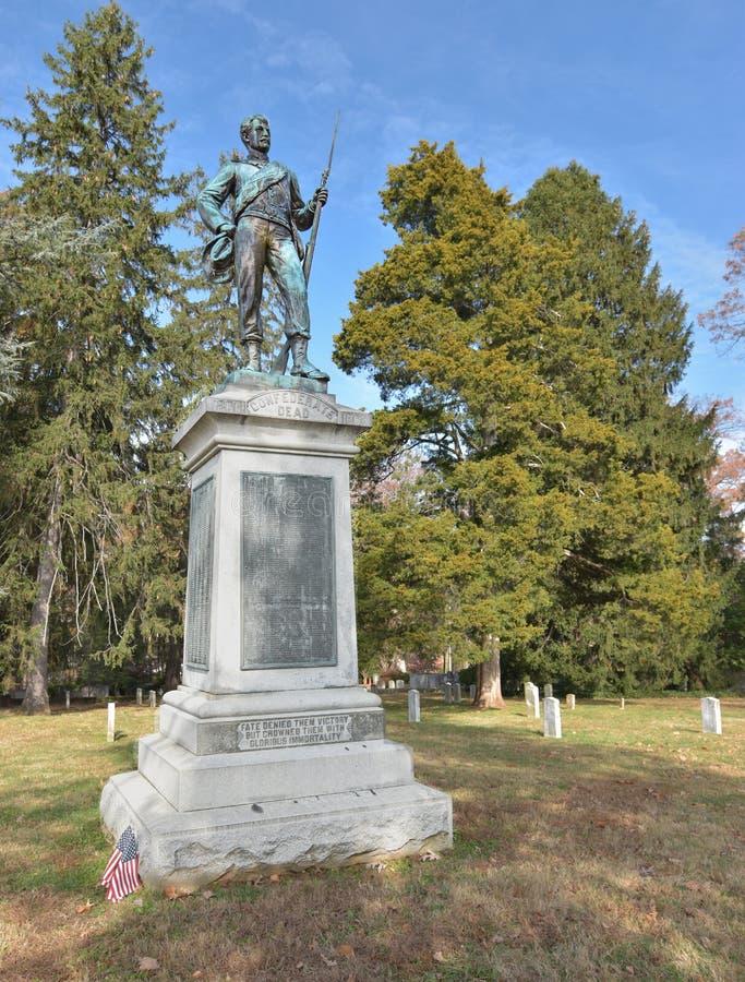 University of Virginia Confederate Cemetery. Liberal College Maintains Civil War Graveyard and Statue, charlottesville, uva, united, states, university, virginia stock photos