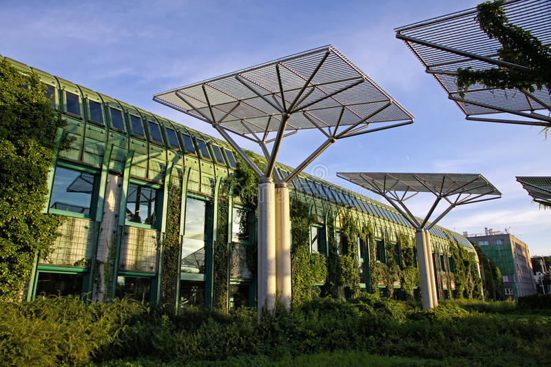 University of Warsaw Library with beautiful rooftop gardens, War royalty free stock photos