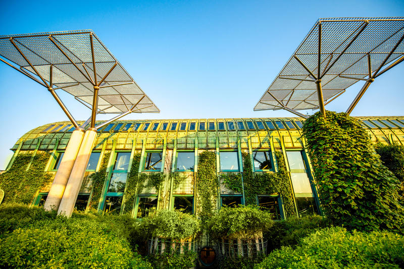 University of Warsaw library in Poland stock photo