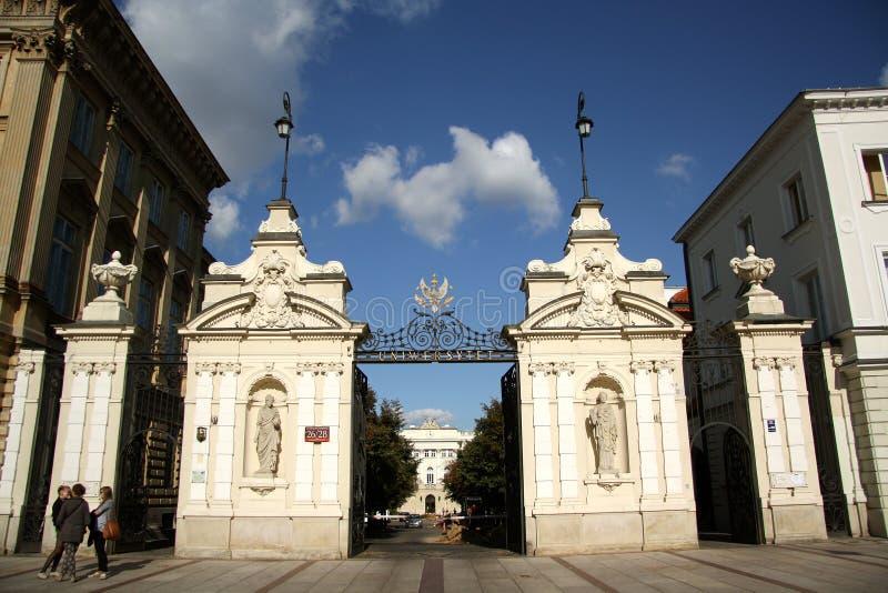 University of Warsaw main gate stock images