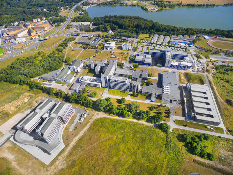 University of The West Bohemia. Aerial view University of The West Bohemia in Pilsen has nine faculties with more than 60 departments and two institutes of royalty free stock photos