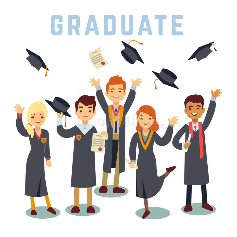 University young graduate students. Graduation and education vector concept stock illustration