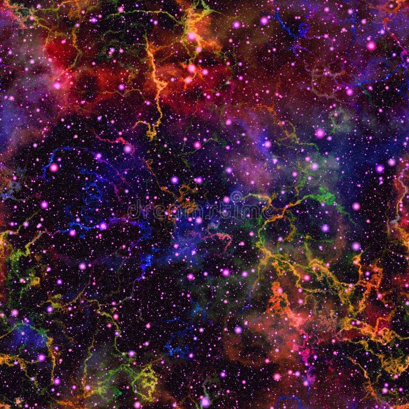 Universo colorido abstrato, céu estrelado da noite da nebulosa, o espaço multicolorido, fundo galáctico da textura, ilustração se ilustração do vetor