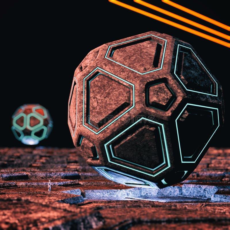 Universo extraño con las estructuras de alta tecnología stock de ilustración