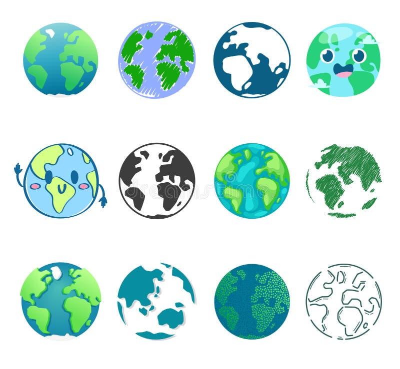 Universo global do mundo do vetor do planeta da terra e grupo mundano da ilustração universal terrestre mundial do globo de enter ilustração stock
