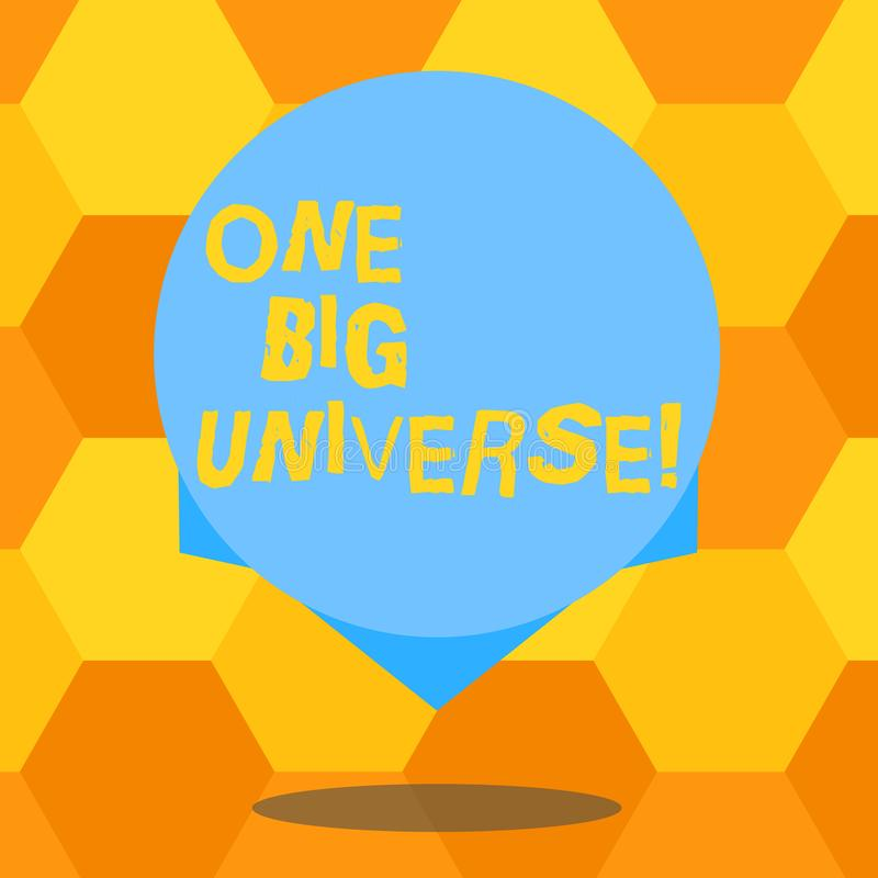 Universo grande do texto um da escrita Conceito que significa toda a matéria e espaço existentes considerados como o círculo de c ilustração stock
