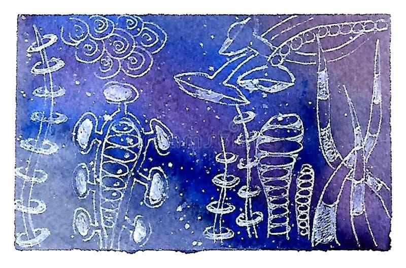 Universo, illustrazione dell'acquerello delle galassie, costellazioni, nebulose royalty illustrazione gratis