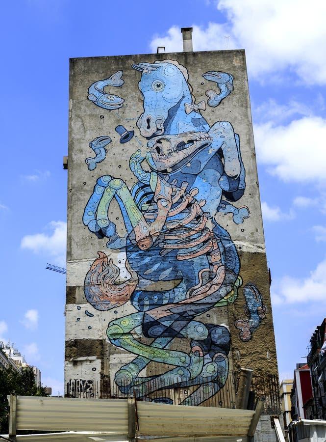 Universo imaginario de un artista de la calle foto de archivo