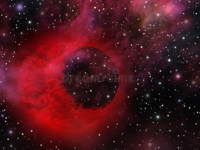 Universo místico com planeta estranho ilustração royalty free