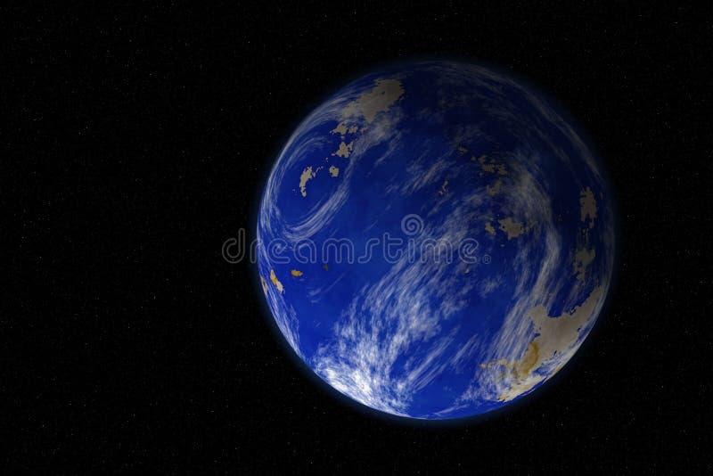 Universo paralelo da terra alternativa com opinião aumentada do espaço do nível do mar foto de stock royalty free