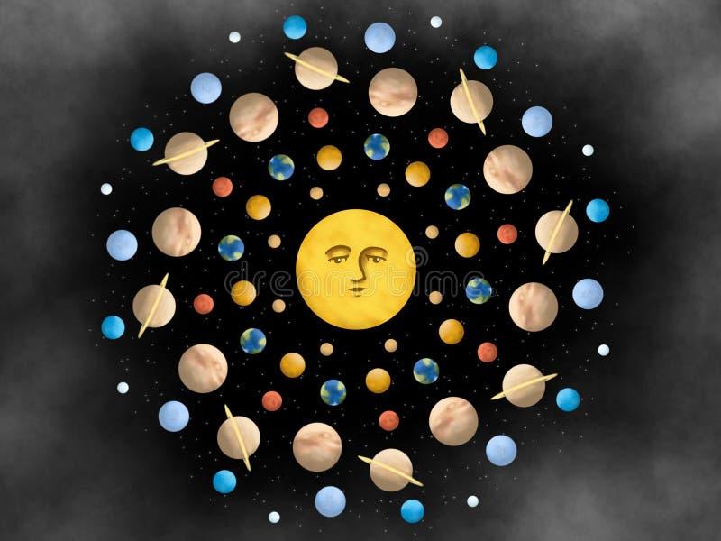 Universo parallelo Mandala Design Illustration illustrazione vettoriale