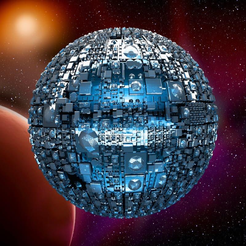 Universo romanzato con la nave da guerra dello spazio illustrazione di stock