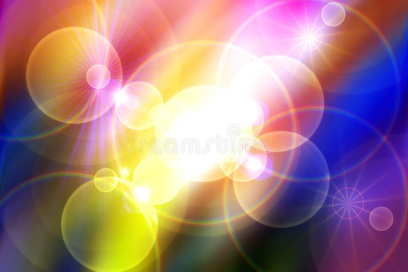 Universo, stelle, raggi, luci, energia, fondo variopinto royalty illustrazione gratis