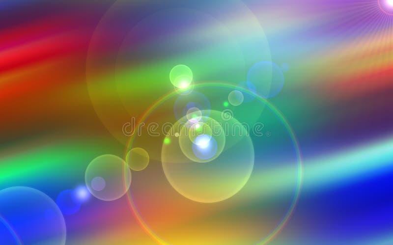 Universo, stelle vive, raggi, luci, energia, fondo variopinto illustrazione vettoriale