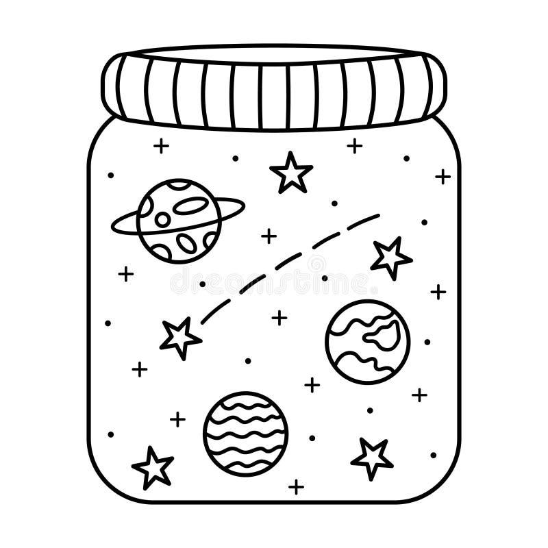 Universo in un barattolo di vetro Stelle, pianeti e cometa in bianco e nero di scarabocchio illustrazione vettoriale