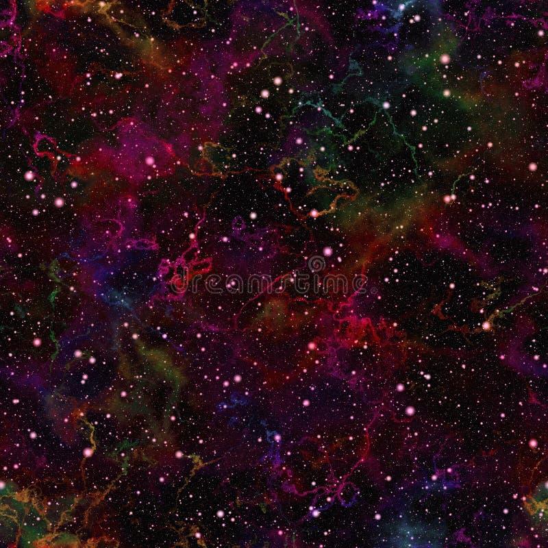 Universo variopinto scuro astratto Cielo stellato di notte brillante Spazio cosmico multicolore Priorità bassa di struttura Vetto royalty illustrazione gratis